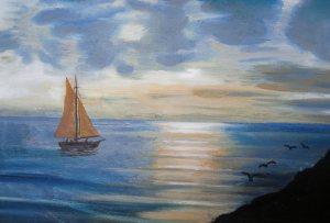Vela al tramonto dell'artista Francesco Vichi